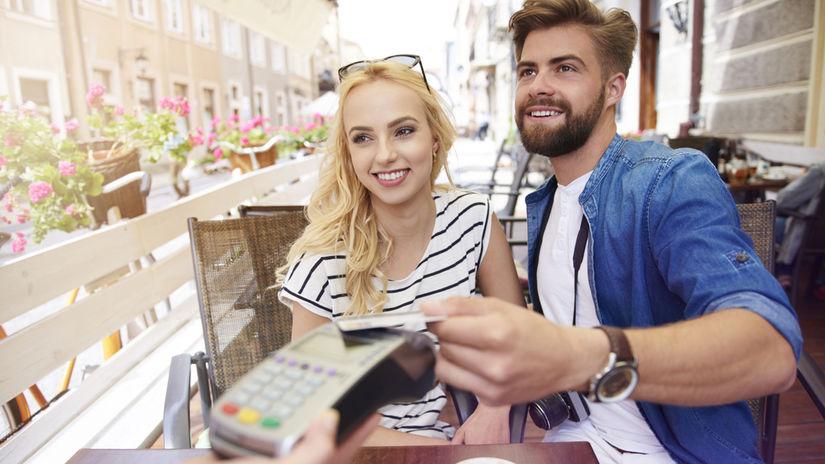 dvojica, platenie, reštaurácia, účet, turisti,...