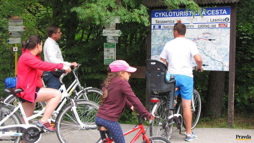 cyklotrasa, Dunajec, cyklisti, lesnica