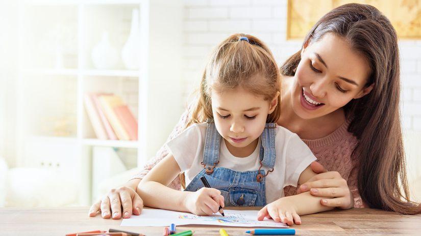 mama, dieťa, škola, učenie