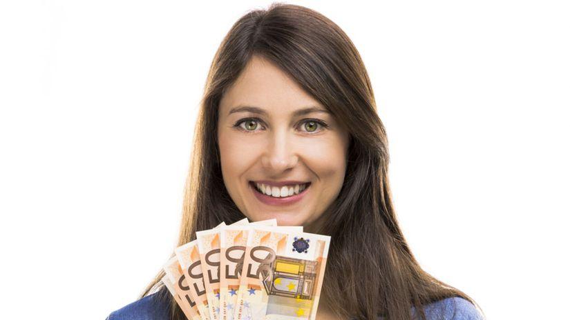 žena, euro, peniaze