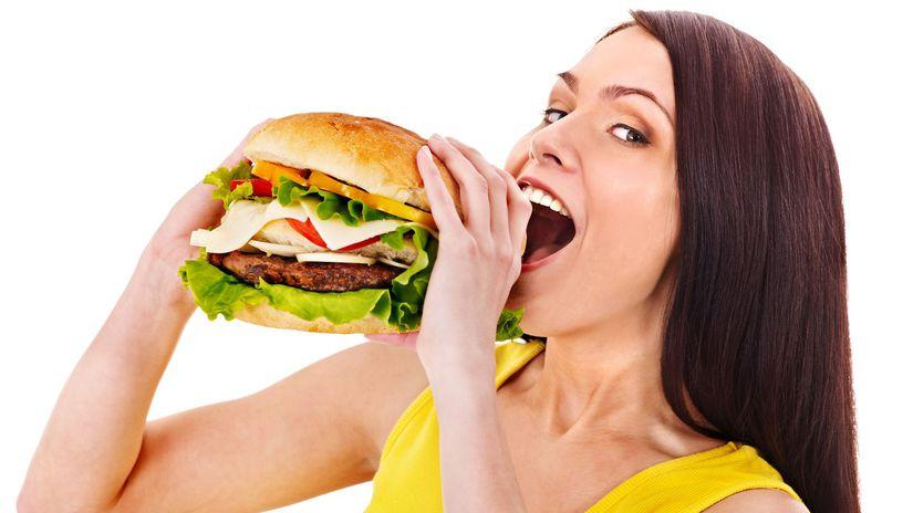 zena, burger, maso, jedlo, dieta