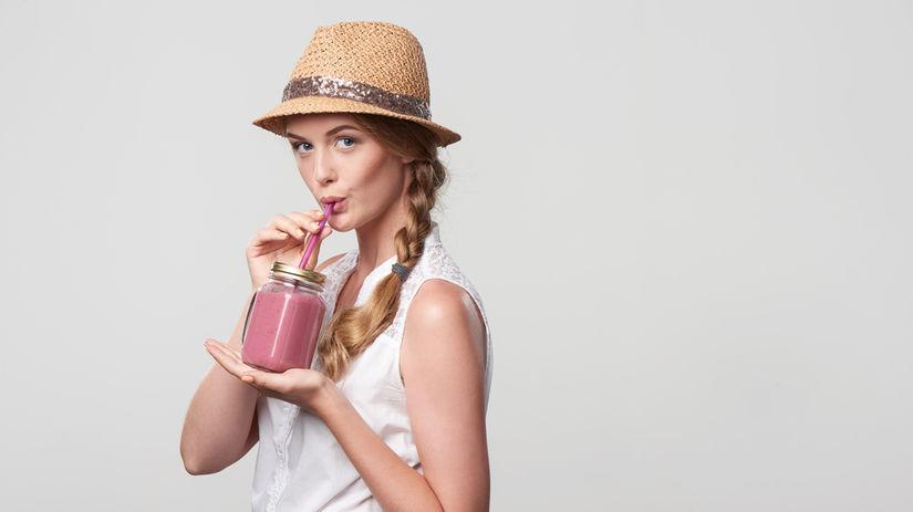 latté, žena, nápoj, ružová