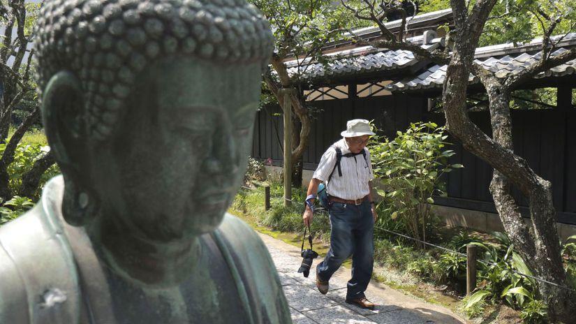 Japonsko, budha, socha, turista, cestovanie,...