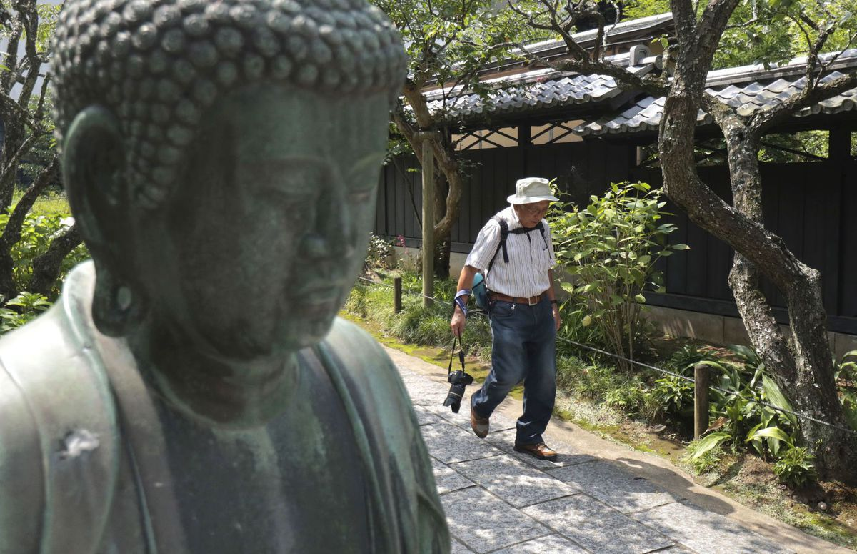 Japonsko, budha, socha, turista, cestovanie, kláštor