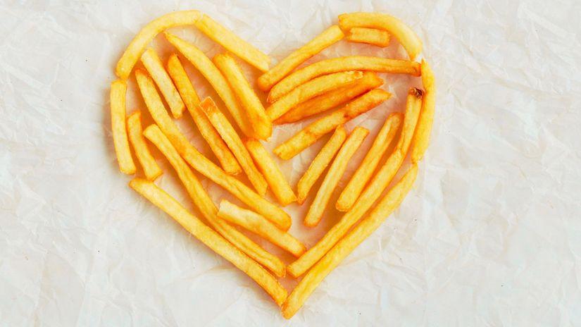 srdce, hranolky, hranolčeky
