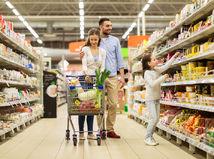 obchod, nakupovanie, zľavy, rodina, nákup, potraviny