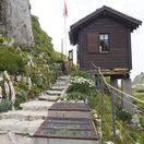 Alpy, Švajčiarsko, botanická záhrada, chata, chatka,