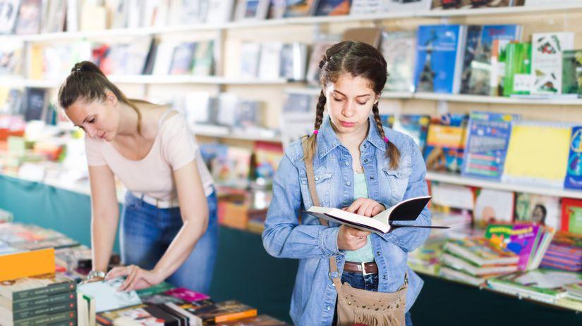 študentky, dievčatá, kníhkupectvo, knižnica, knihy