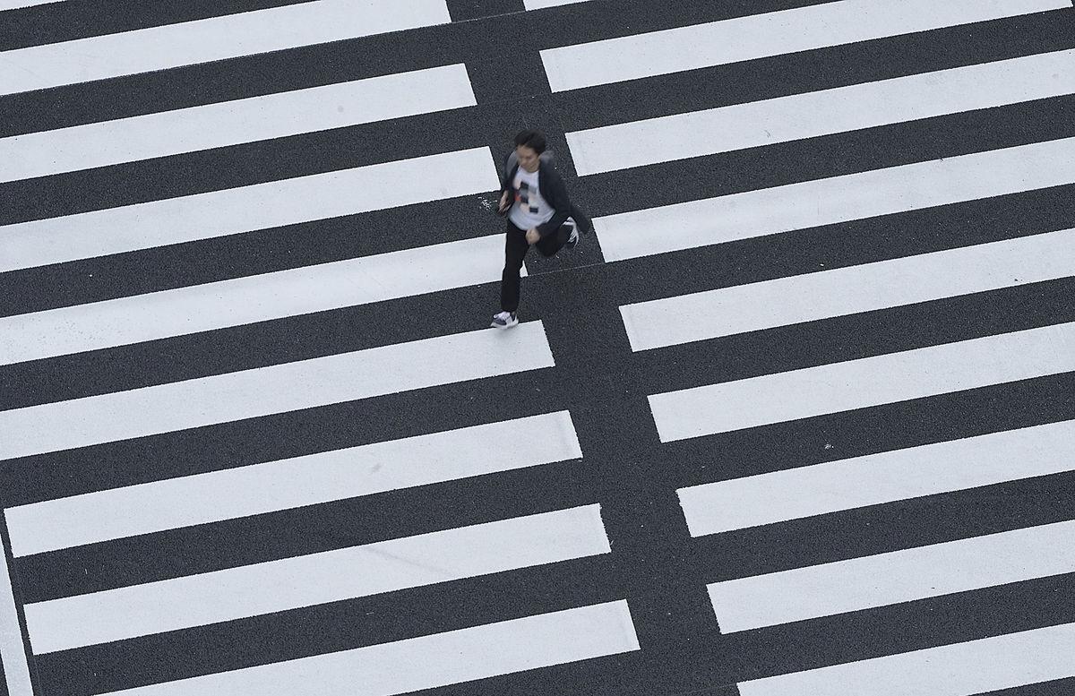 Japonsko, prechod, chodec, beh, mesto, prechod pre chodcov,