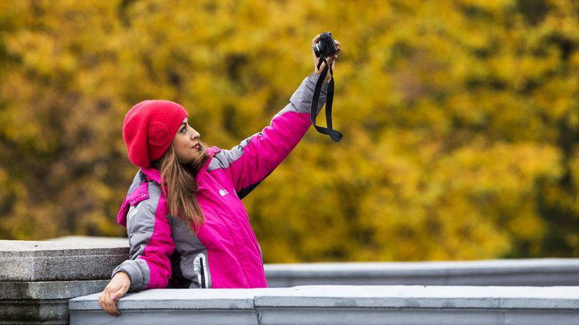 selfie, fotoaparát, jeseň, dievča, žena,...