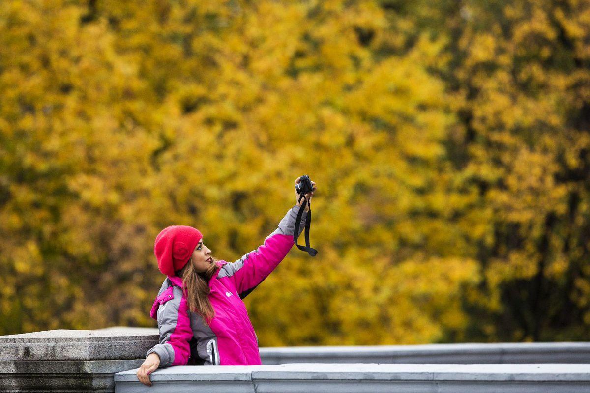 selfie, fotoaparát, jeseň, dievča, žena, fotenie, cestovanie,