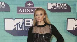 Herečka Natalie Dormer na vyhlásení cien MTV European Music Awards 2017.