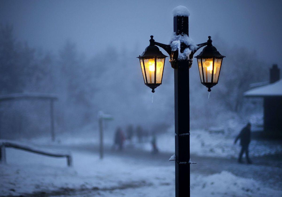 zima, sneh, počasie, lampa