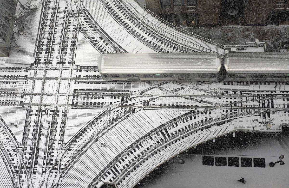 vlak, železnica, koľajnice, Illinois, sneh, zima