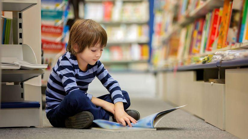 Deti, čítanie, knižnica, rozprávky, chlapec,...