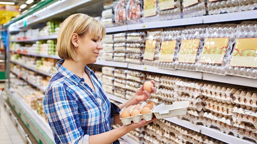 obchod, potraviny, vajcia