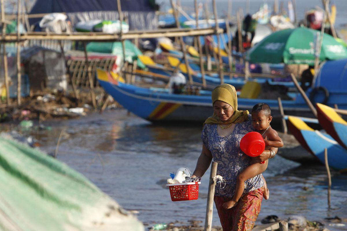 Kambodža, matka, dieťa, prístav