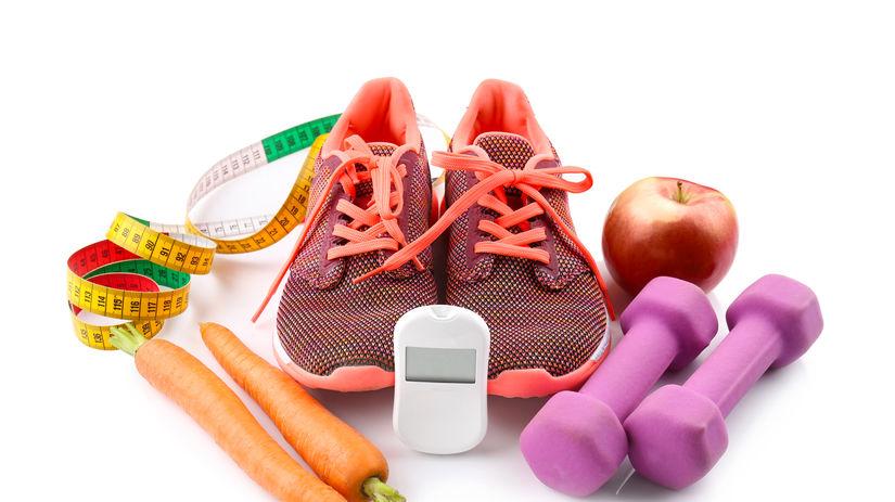šport, zdravá strava, tenisky