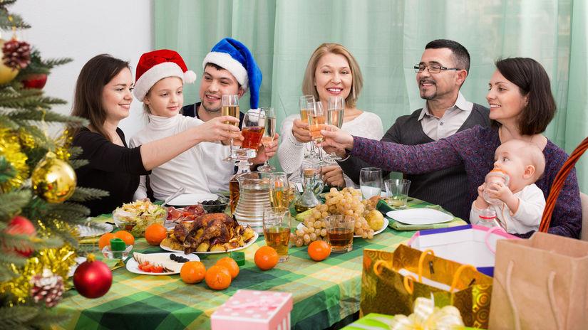 rodina, vianoce, večera