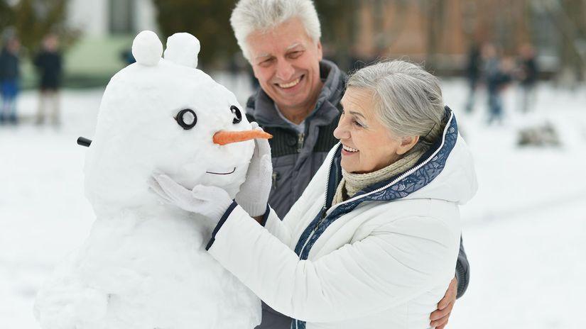 dôchodca, dôchodok, seniori, snehuliak, zima