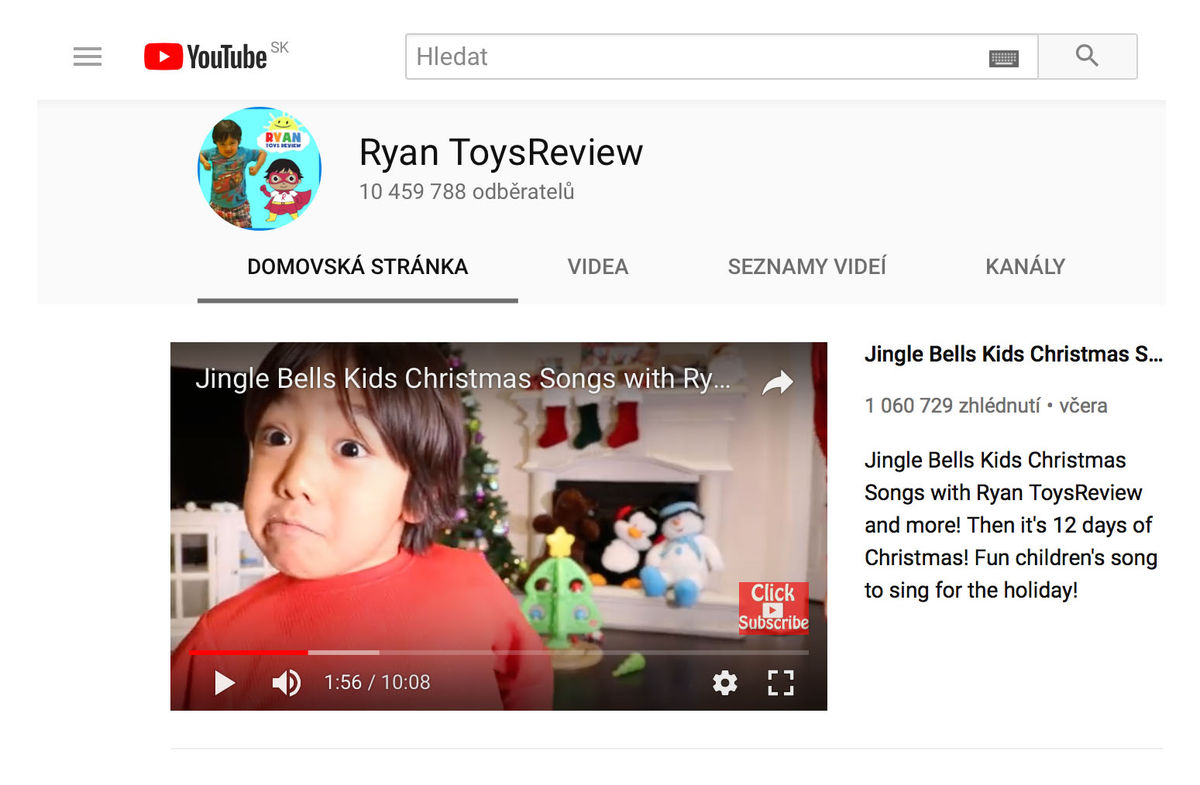 Ryan ToysReview - kanál na YouTube