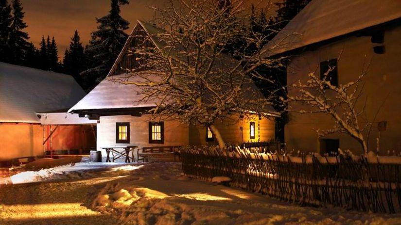dedina, zima, sneh, Vianoce, Orava, drevenice