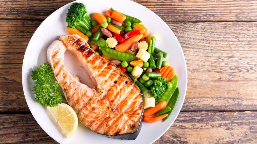losos, zelenina, zdravá výživa