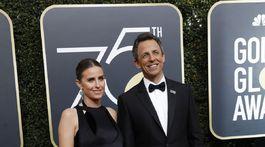 Moderátor Seth Meyers a jeho manželka Alexi Ashe.