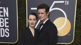 Seriáloví kolegovia z The Crown Claire Foy a Matt Smith.