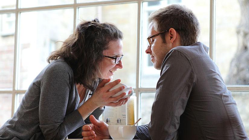 káva, pár, muž, žena, zoznámenie