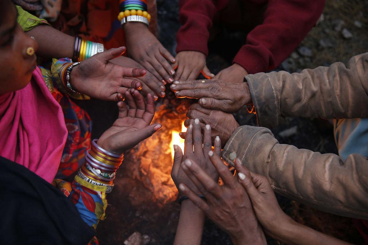 India, oheň, ruky, ohrievanie, teplo, zima