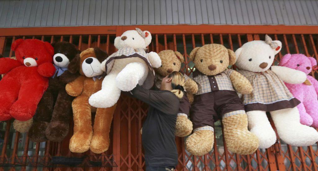 Thajsko, medvede, hračky, predavač, plyšové