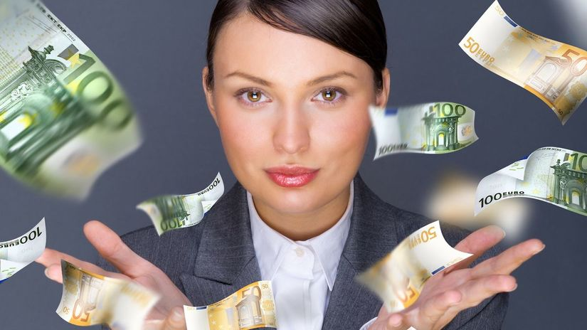 žena, peniaze, práca, euro