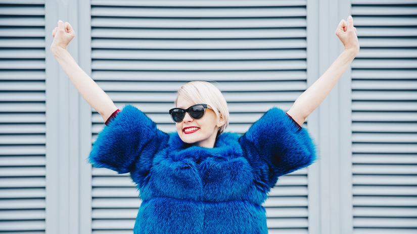 blond, žena, modrá