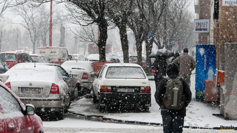 Parkovanie chodnik, doprava, pocasie