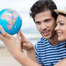 cestovanie, mapa, svet, zemeguľa, glóbus, krajiny, štáty, dvojica, dovolenka,