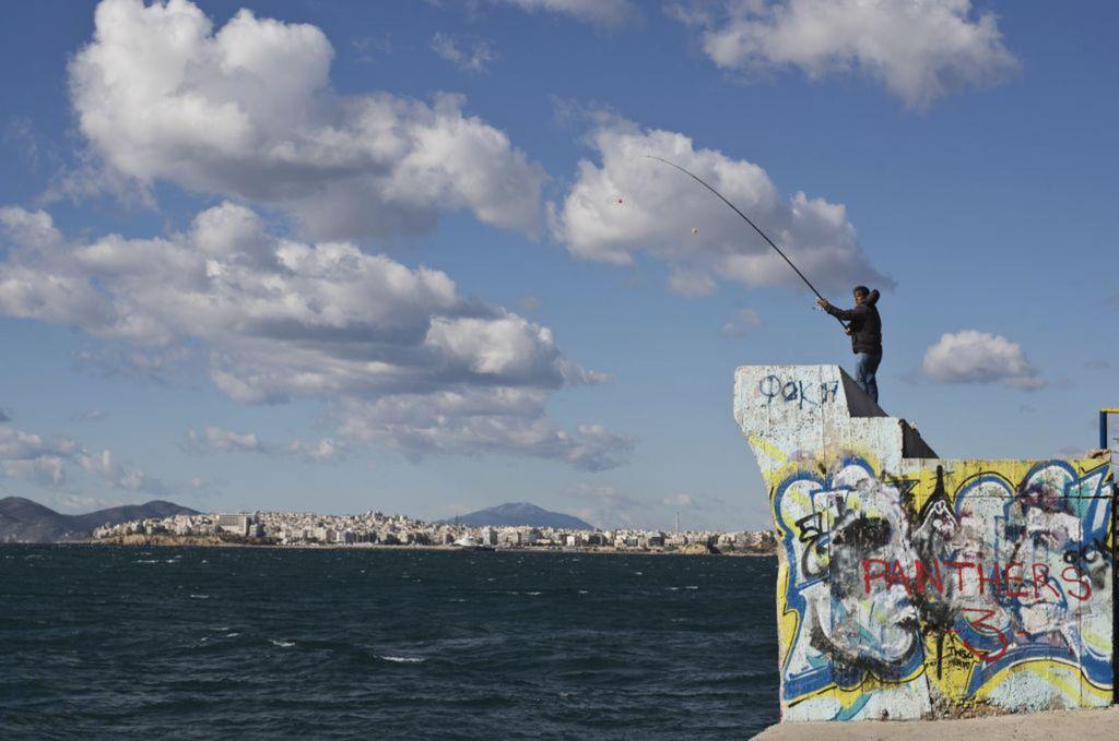Grécko, rybár, rybolov, more, udica,