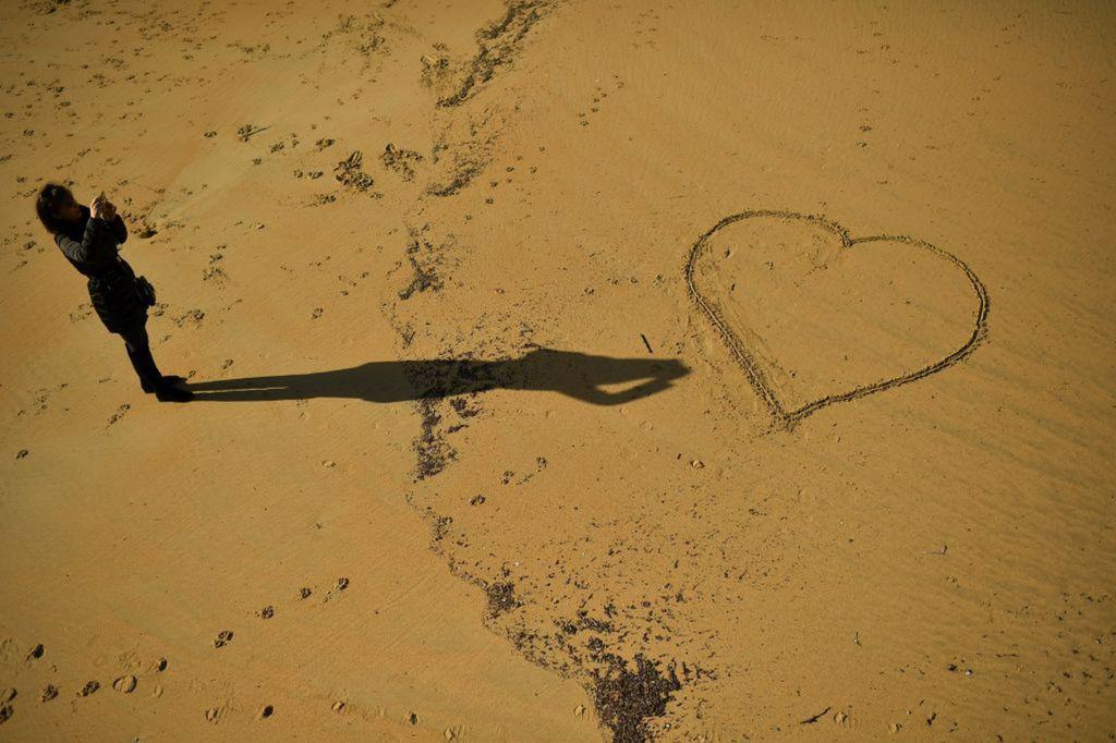 Španielsko, pláž, more, piesok, srdce, láska,