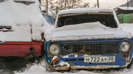 Bajkal, jazero, Rusko, autá, vraky