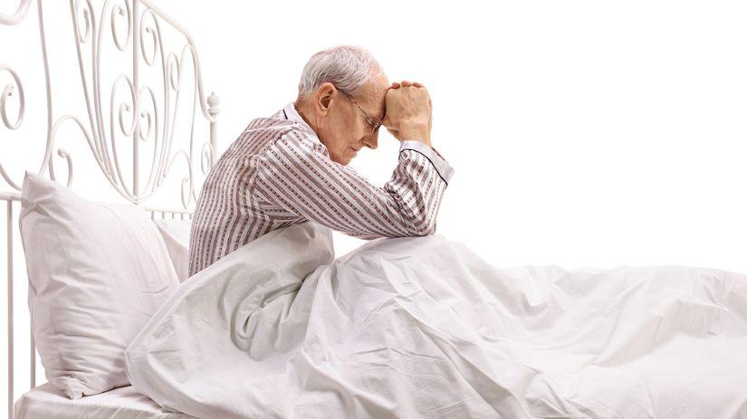 dôchodca, staroba, depresia, muž, posteľ