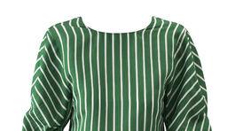 Prúžkovaný dámsky top v zeleno-bielej kombinácii.