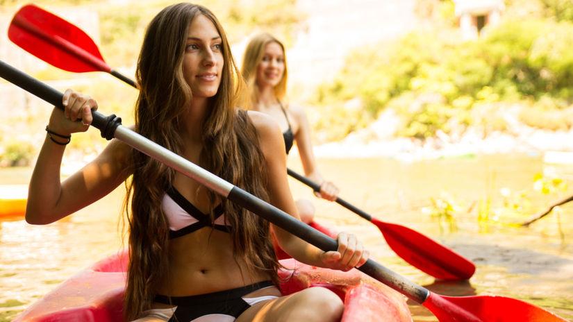 ženy, plavky, kanoe, kajak, loďka, loď, plavba,...