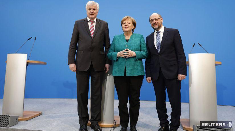 Merkelová, Seehofer, Schulz
