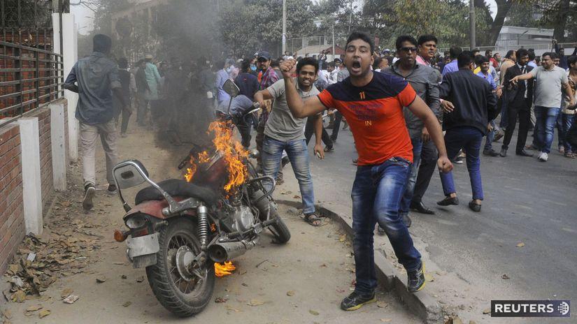 bangladéš, protest, demonštrácia, dháka