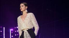 Modelka počas prehliadky Brandon Maxwell v New Yorku.