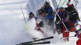 ZOH 2018, slalom, pád, Mayer
