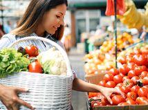 nákup, žena, trh, zelenina