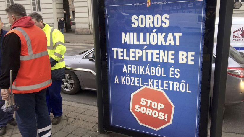 soros, orbán, budapešť, bilboard