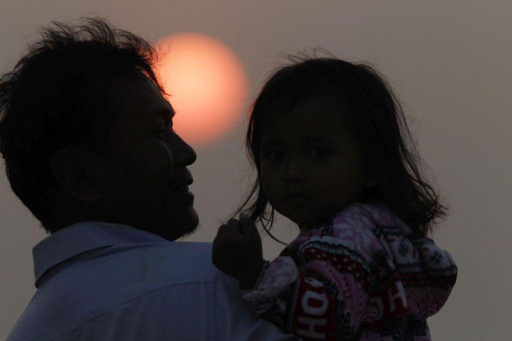 Kambodža, dieťa, otec, rodič, slnko, rodina
