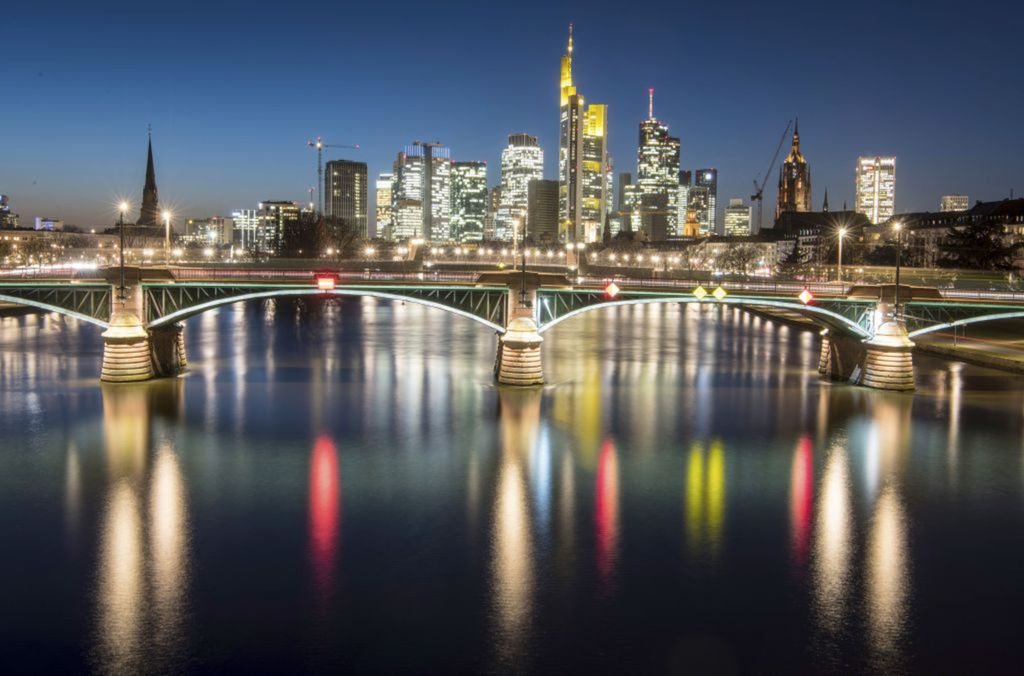 Nemecko, mesto, rieka, odraz, svetlá, noc, Frankfurt